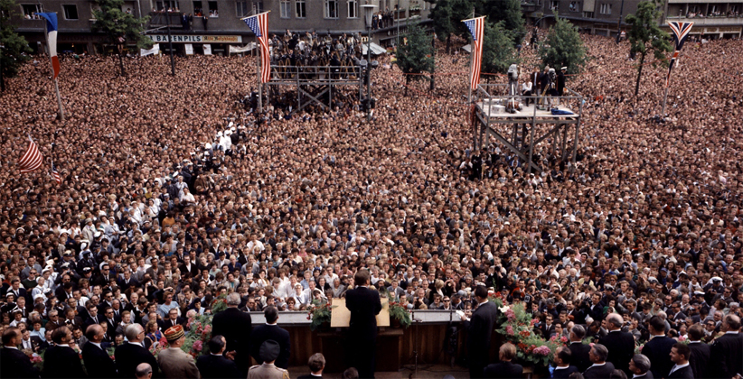 "Enormous West German crowd gathers to hear JFK tell them that ""all free men, wherever they may live, are citizens of Berlin"". (Robert Knudsen, White House/JFK Library and Museum)"