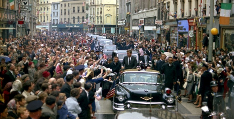 June 27th, 1963, JFK is met by vast crowds in Cork. Newspapers reported that rose petals, confetti, streamers and ticker tape were thrown in the path of the cavalcade.