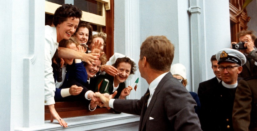JFK is greeted by well-wishers in Cork.  (JFK Presidential Library)