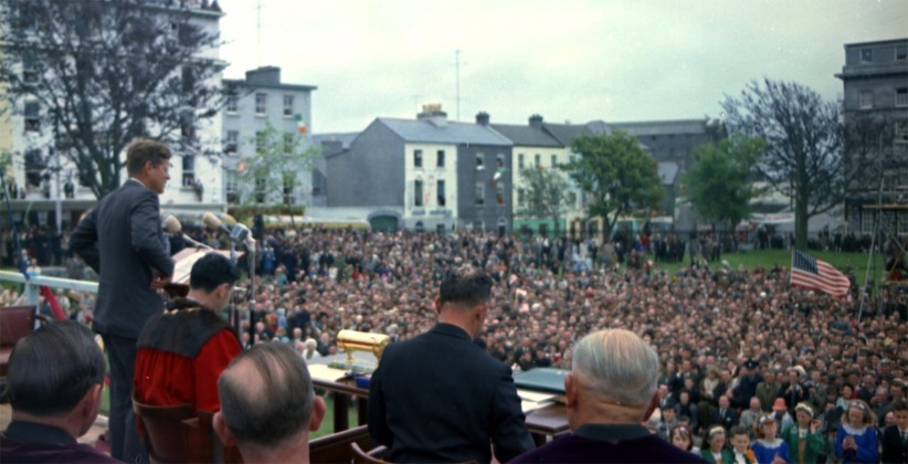 June 29th, 1963, A very full Eyre Square, Galway, for JFK's remarks on the final day of his visit. (JFK Presidential Library)