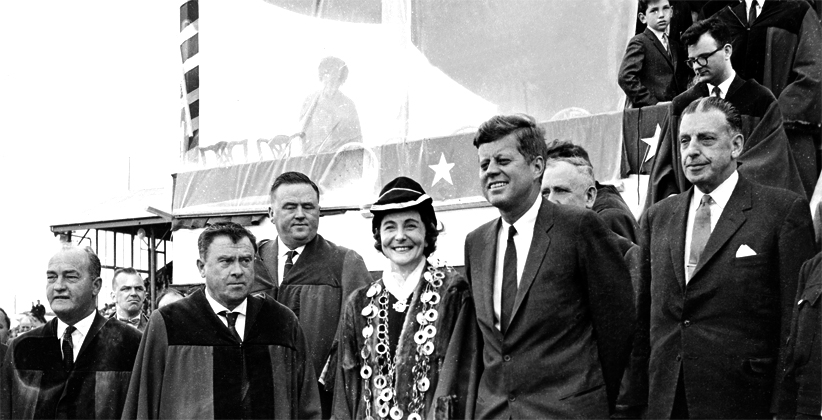 JFK pictured with The Mayor of Limerick, Frances Condell and Seán Lemass. (Limerick Leader)