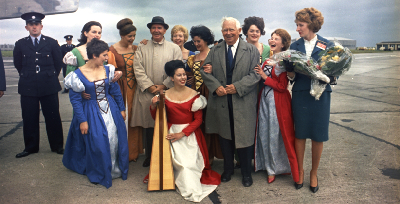 The Bunratty Castle Singers pose with members of JFK's entourage.