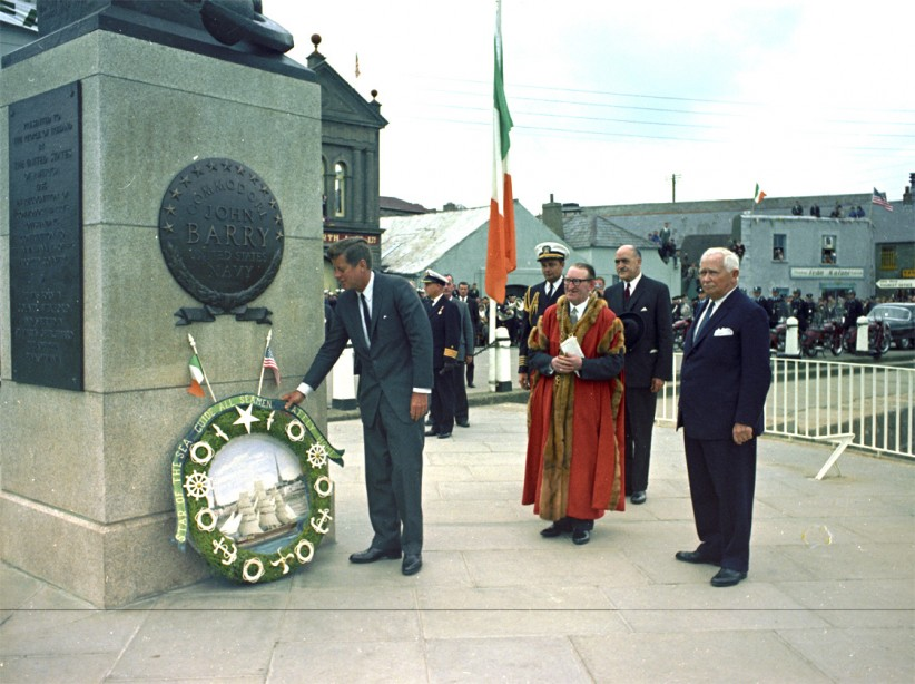 JFK laying a wreath in memory of Wexford-born Commodore John Barry, a hero of the US Navy. (JFK Presidential Library)