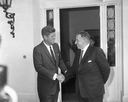 Kennedy formally meets Lemass in Ireland at the American Embassy.